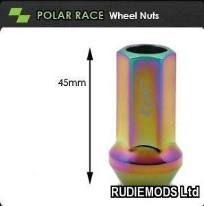 Details about TPi Race Wheel Nuts Polar design M12x1 25 45mm length - SET  of 16