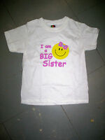 Big Sister Smiley Face White T-shirt, Size Medium (10-12), Brand