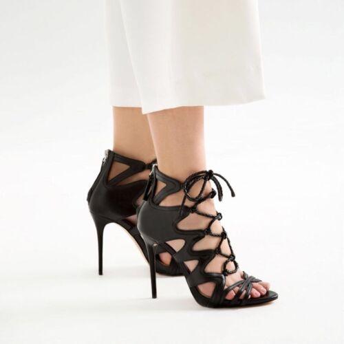 Absatz hohem Schnürstiefeletten 41 mit aus Größe Leder Schwarze Zara nARTwxW7UA