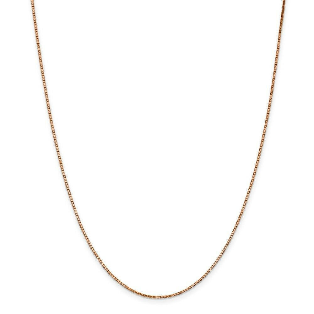 14kt pink gold 1.10mm Box Link Chain; 18 inch