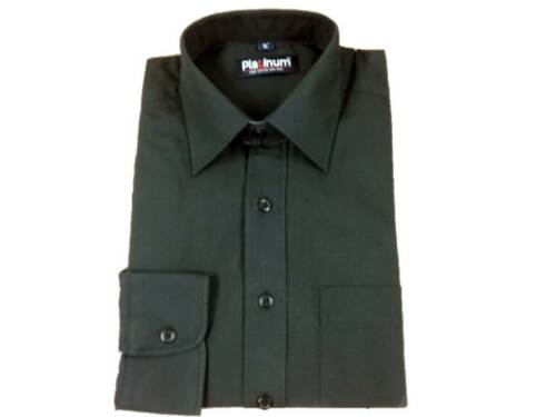 """FACTORY SECONDS  Black Reg Collar Day Shirt with Pocket 15/"""" /& 16/"""" NWT"""