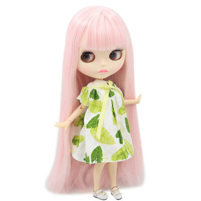 """12/"""" Neo Blythe Doll From Factory Jointed Body Light Gray Hair Matte Face Make-up"""