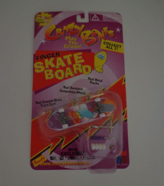 1999 Crazy Bones '99 Finger Skate Board Silver Stabilizers Chef Toy Craze