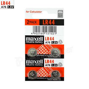 4-x-pilas-alcalinas-Maxell-LR44-1-5V-A76-AG13-303-357-L1154-SR44-Paquete-de-2
