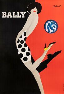 Affiche Originale - Bernard Villemot - Bally - Chaussure - Mode - Globe - 1989