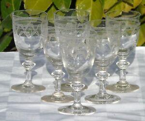 Saint-Louis-Service-de-6-verres-a-vin-blanc-ou-vin-cuit-cristal-grave-Fin-XIXe