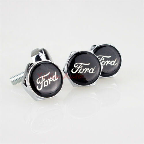 4PCS Car License Plate Frame Security Screw Bolt Cap Cover Screw Bolts For Ford