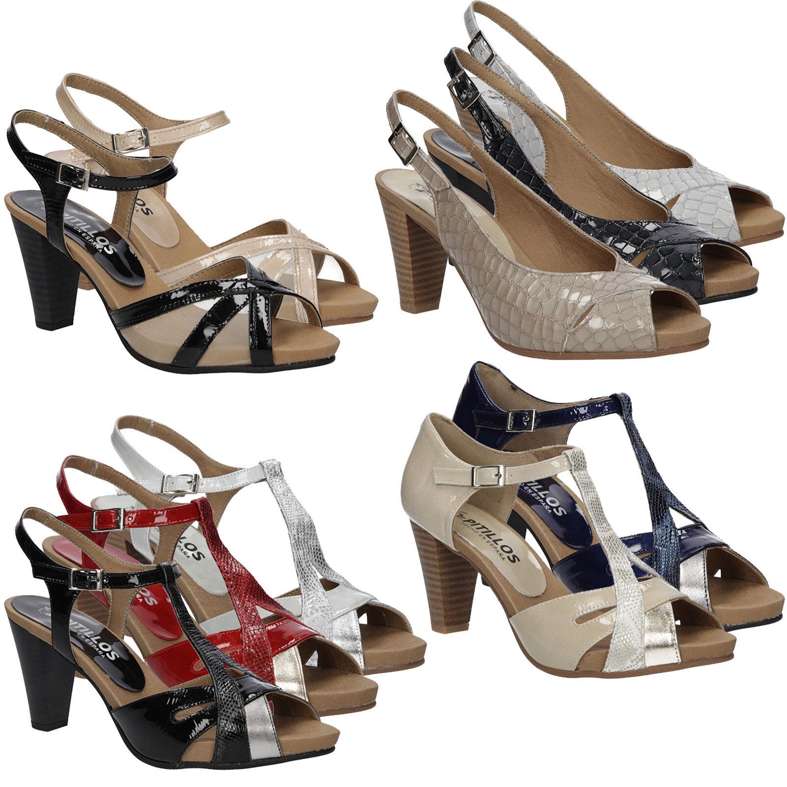 Damen Sandaletten Pitillos Echtleder Blockabsatz Blockabsatz Blockabsatz Elegant Sommer Gr. 35-41 NEU fcc091