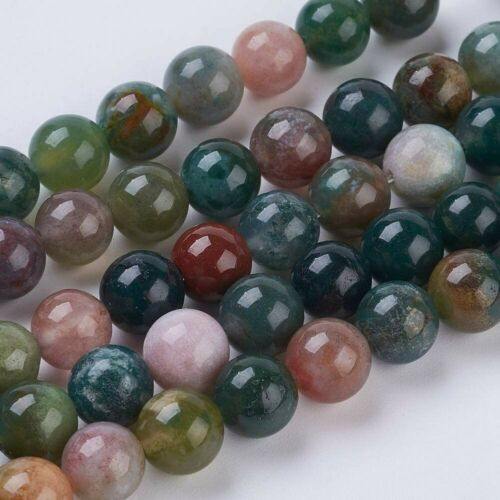 20 Indian Agate Gemstone Beads 8mm Green Natural Jewelry Making Supplies