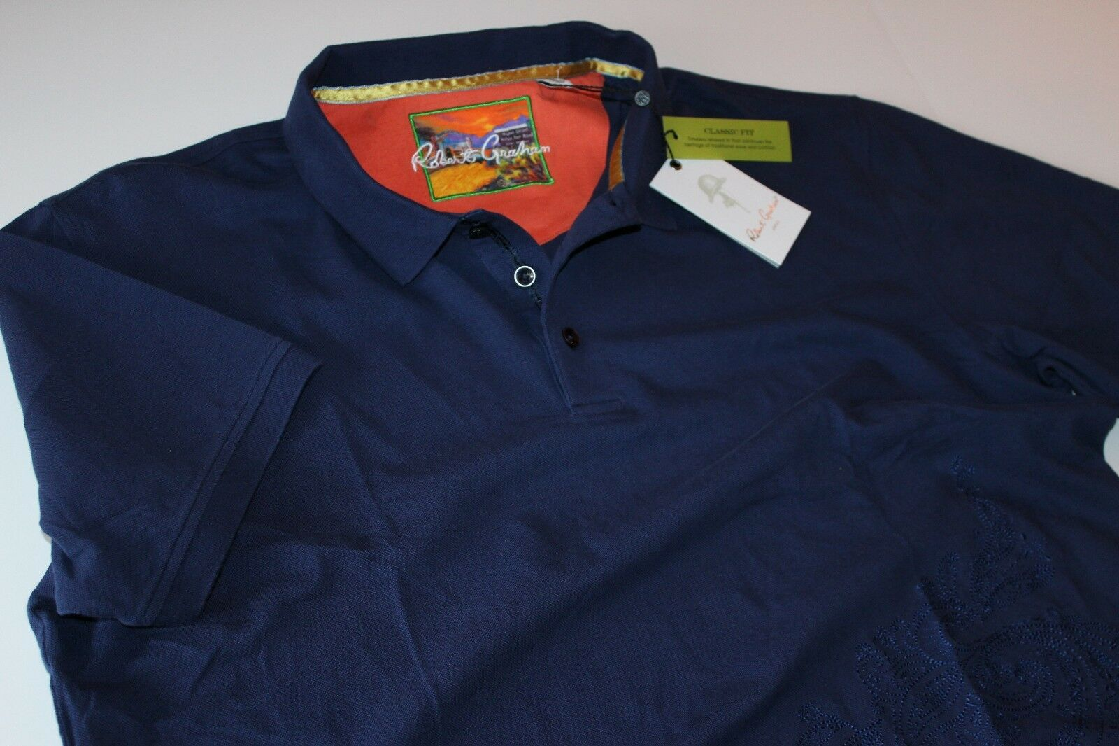 Robert Graham Polo Shirt Jawbone Canyon Navy RP167005CF New Extra Large XL