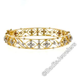 21k-Yellow-amp-White-Gold-2-15ctw-Diamond-Open-Work-6-75-034-Hinged-Bangle-Bracelet