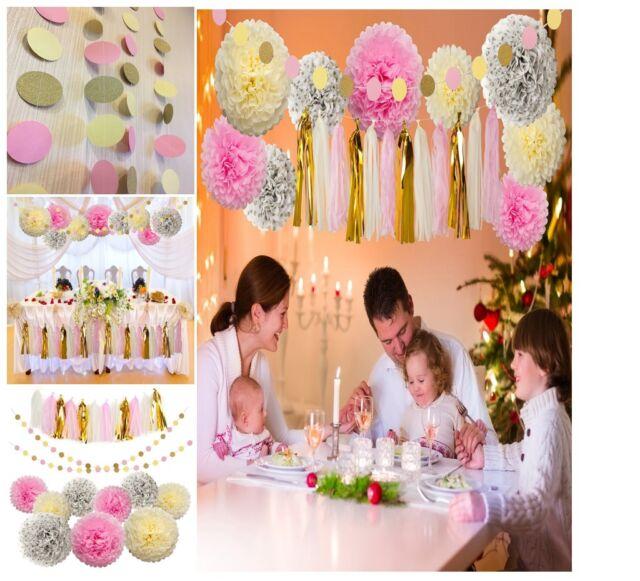 Tissue Pom Poms Paper flowers Tissue Tassel Paper Garland Pink Cream Glitter ...