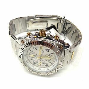SEIKO-Men-039-s-SNA619-Silver-Gold-Two-Tone-Stainless-Steel-Chronograph-Quartz-Watch