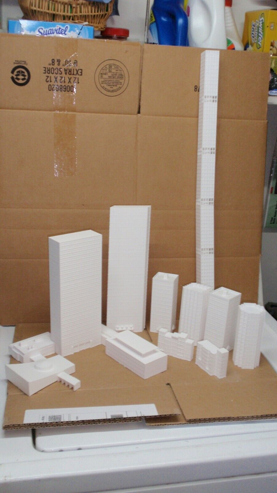 13x 1 350 scale High Rise, Apartment, Model, Skyscrapers, Buildings White