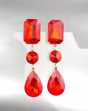 GLITZY Crimson Red Czech Crystals LONG Bridal Queen Pageant Prom CLIP Earring