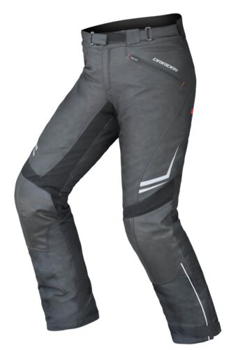 "32/""//M Mens DriRider Nordic 2 Leather Hybrid Motorbike Pants Black Short Leg"