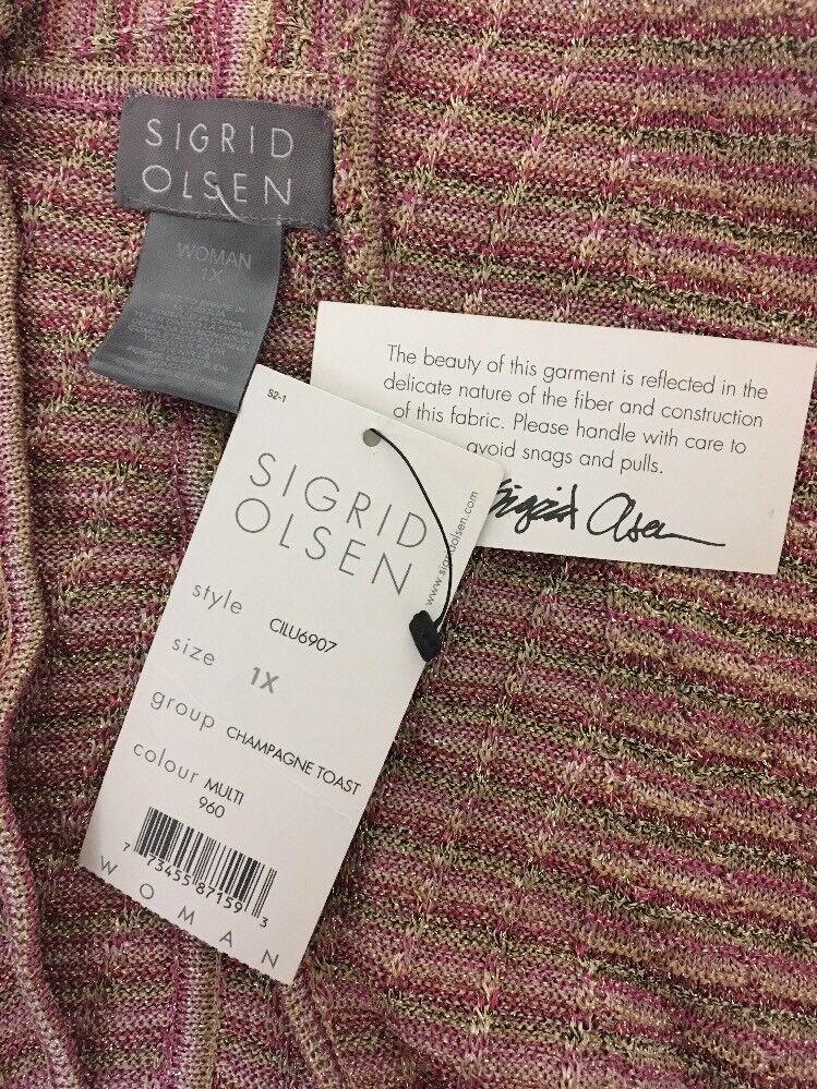 SIGRID OLSEN Pink gold gold gold Open Cardigan 1X Sweater Crochet Metallic Kimono NEW NWT 4169f5