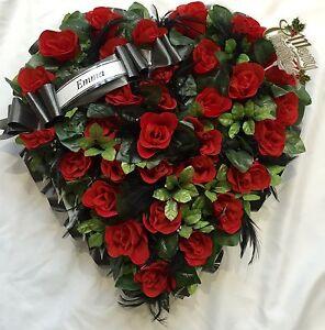 Artificial Silk Flower Heart Funeral Memorial Tribute Open Red Rose