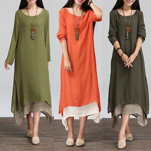 Women-Peasant-Ethnic-Boho-Cotton-Linen-Long-Sleeve-Maxi-Dress-Gypsy-Blouse-Shirt