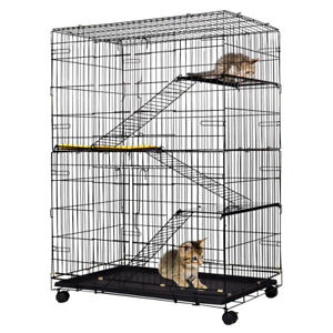Large-Folding-Collapsible-Pet-Cat-Wire-Cage-w-Tray-Outdoor-Carriers-Playpen