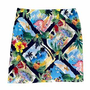 Talbots Women Skirt Mini Tourist Vibrant Flamingo Island Tropical Sz 10P Petite
