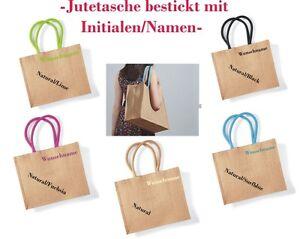 jute tasche bestickt mit namen einkaufstasche shopper baumwoll henkel handtasche ebay. Black Bedroom Furniture Sets. Home Design Ideas