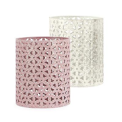 Windlicht Set 2tlg Metall + Glas Floral 14 cm / Teelichthalter, Kerzenhalter