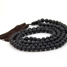 108 Black Volcano Stone Tibet Buddhist Prayer Beads Mala Necklace--8mm