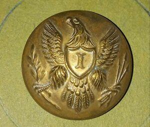 "Civil War US Federal Army Uniform Coat Eagle Button ""I"" Rare"