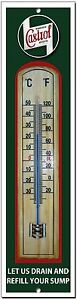 CASTROL LET US DRAIN YOUR SUMP METAL AND WOOD THERMOMETER.GA<wbr/>RAGE,OIL.