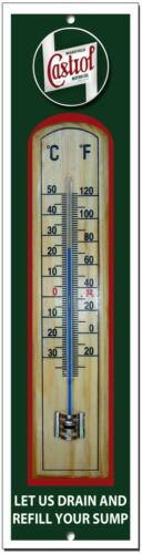 CASTROL LET US DRAIN YOUR SUMP METAL AND WOOD THERMOMETER.GARAGE,OIL.