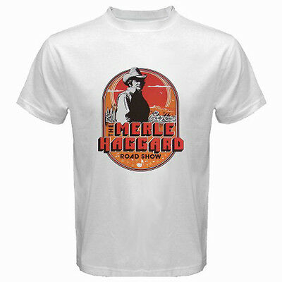 Merle Haggard Tour Logo Music Legend Men/'s White T-Shirt Size S M L XL 2XL 3XL