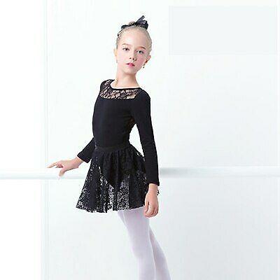 Girls Ballet Dress Gymnastic Leotards Lace Skirted Leotards Long Sleeve Black 3