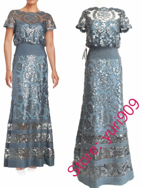 Tadashi Shoji Steel Blue Sequin Topped Illusion Formal Gown Dress ...
