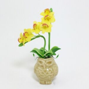 Yellow Phalaenopsis Orchid Flower Clay Plant In Owl Pot Dollhouse