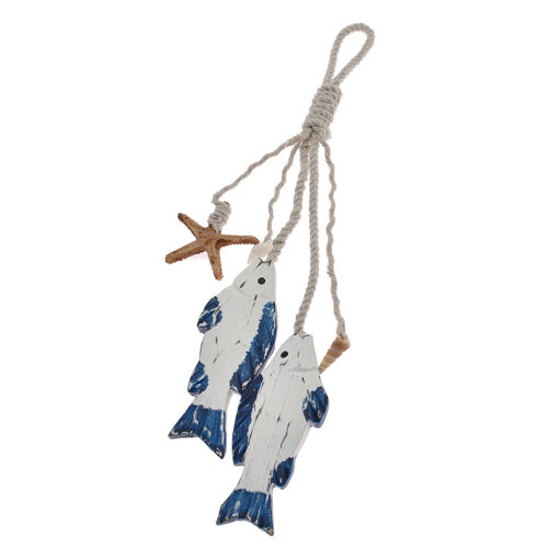 Wooden Hanging Fish Nautical Sea Figure Vintage Style Home Decoration Accessory