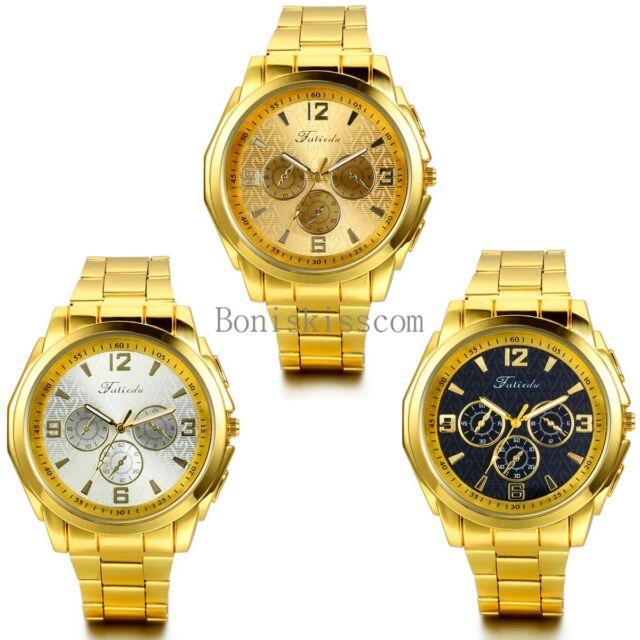 Fashion Business Mens Luxury Gold Tone Quartz Stainless Steel Wrist Watch New