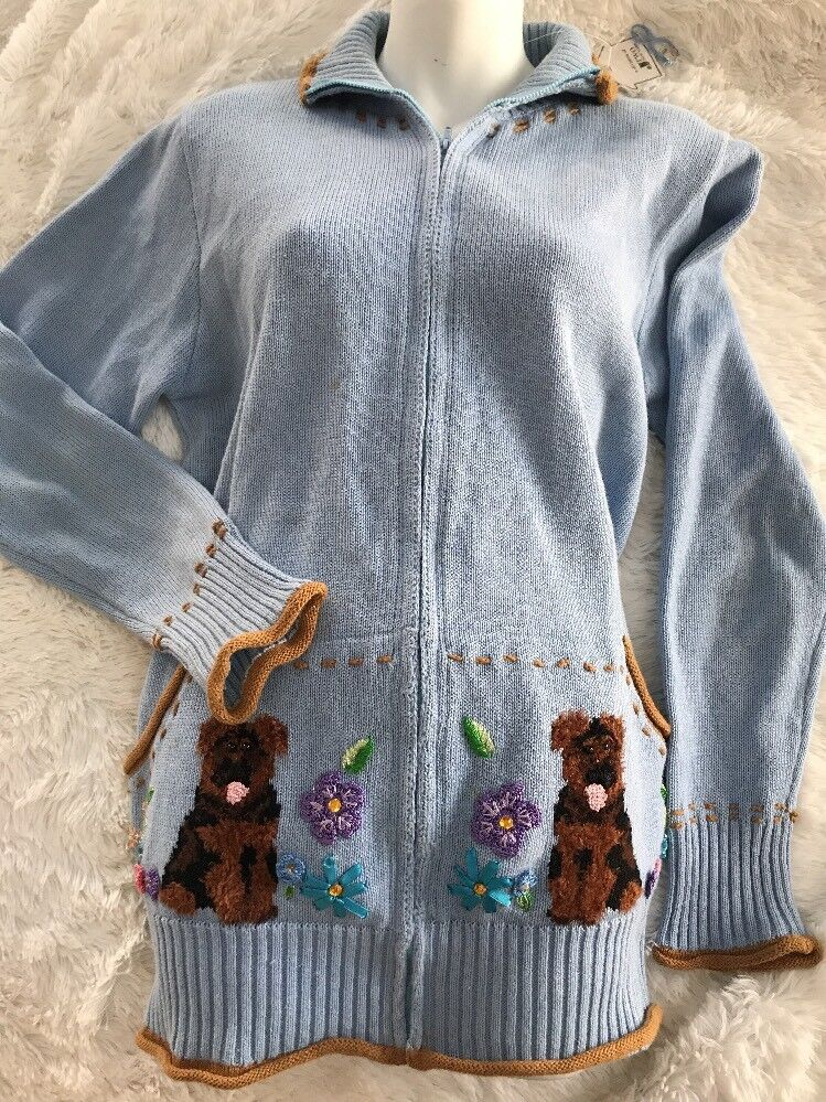 New HSN Storybook Knits Sweater Cardigan Garden Guardians bluee Size Large Dog