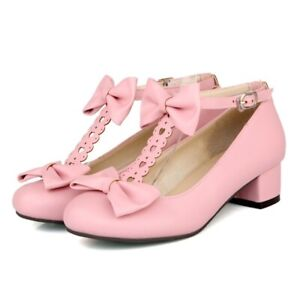 Women-Sweet-Bowknot-Lolita-Mary-Janes-Ankle-Strap-Shoes-Block-Cosplay-Shoes-New