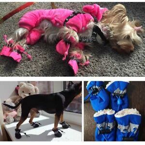 Dog-Winter-Boots-Warm-Shoes-For-Pet-Waterproof-Small-Snow-Yorkie-Fur-Cats-4PCS