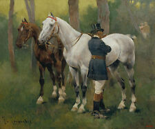 Awaiting the Return Josep Cusachs Pferde Reiter Wald Sattel Sporen B A3 02709