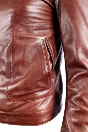 MEN/'S NEW m-124 Brown NAPA SOFT Real Lambskin Lather Biker Rock Zipper Giacca