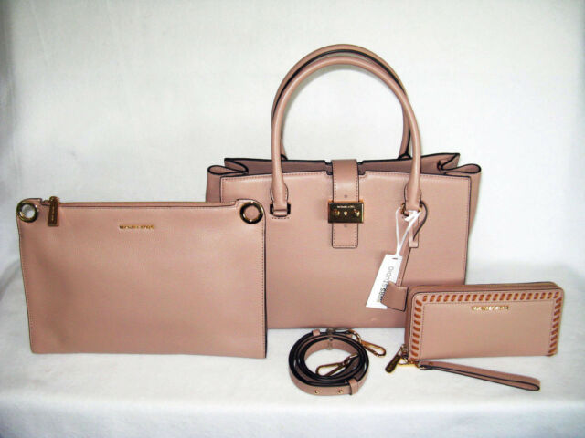 MICHAEL KORS Large BUILD A BOND FAWN TAUPE SATCHEL SHOULDER & WALLET NWT $676