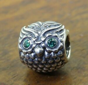 9863d2a82 Authentic silver PANDORA GREEN CZ EYES WISE OLD OWL BIRD BEAD charm ...