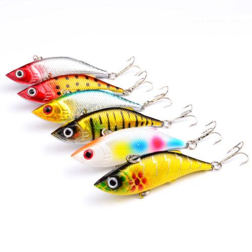 6PCS Fishing Fish Bass Crankbaits Crank Minnow lure hook baits 8cm//11.5g
