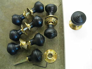 Pair of Victorian Edwardian Reproduction Ebonized Reeded Door Knobs ...