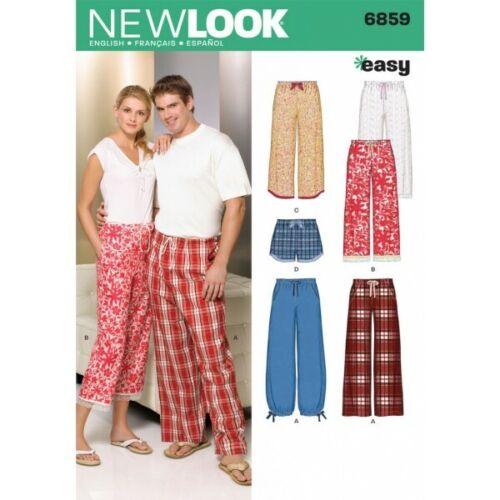 NEW Look Sewing Pattern MISSES/'s Pantaloni Uomo adolescenti Pigiama Pantaloncini 6859