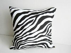 animal print baumwolle kissenbezug kissenh lle kissen deko zebra schwarz wei ebay. Black Bedroom Furniture Sets. Home Design Ideas