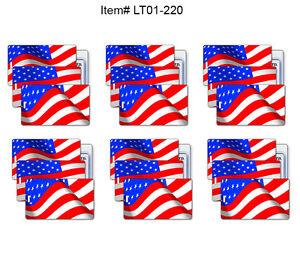 Details about SETOF6 Lenticular Animate USA Luggage Bag Travel Tag Wave  American Flag LT01-220
