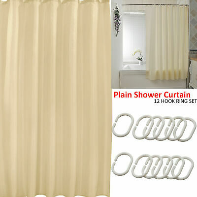 UK PLAIN BATHROOM SHOWER CURTAIN LINER WATERPROOF LONG WITH 12 HOOKS RING SET